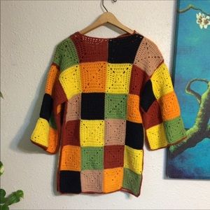 Vintage Sweaters - Handmade Knit Afghan Style Granny Square Cardigan